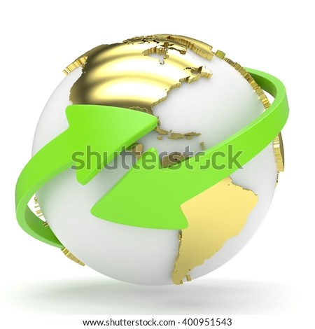 Arrows and Earth globe. 3d render - stock photo