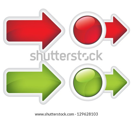 Arrows buttons red and green sign - stock photo