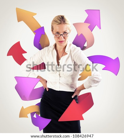 Arrows coming from a business woman - stock photo