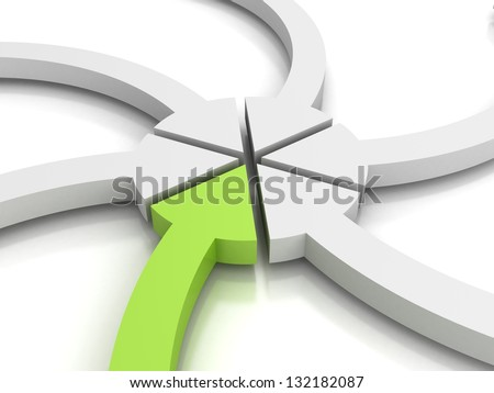 arrows direct to one center point with green one - stock photo