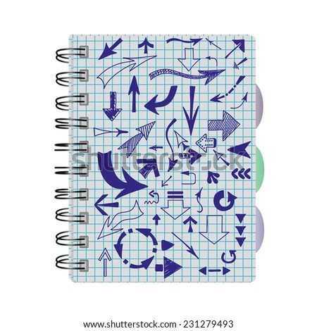 Arrows, hand-drawn in a notebook into a cell. - stock photo