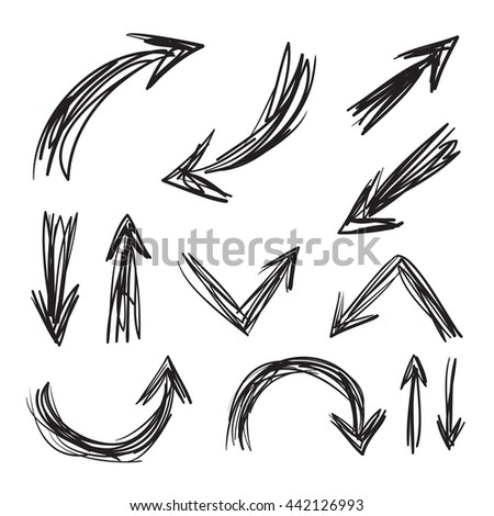 Arrows hand drawn set icons illustration, perfect for web, office, right, left, up and down  - stock photo