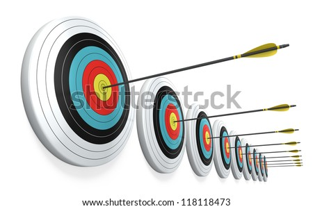 Arrows hitting the center of targets - success business concept - stock photo