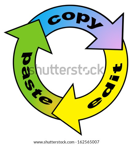Arrows in a circle flow with word copy, edit, and paste - stock photo