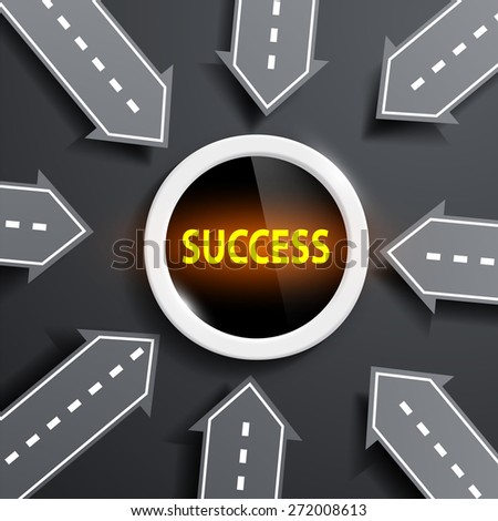 arrows in the form of roads aimed at the center with the word success - stock photo