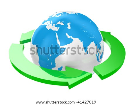 Arrows round the earth on a white background - stock photo
