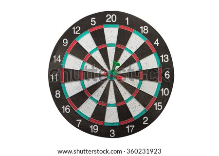 arrows stuck in the center of the DART Board isolated on white - stock photo