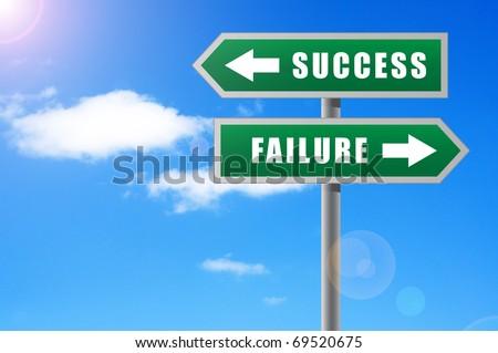 Arrows success failure on sky background. - stock photo