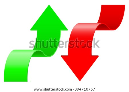 Arrows. UP and DOWN.  illustration isolated on white background. Raster version - stock photo