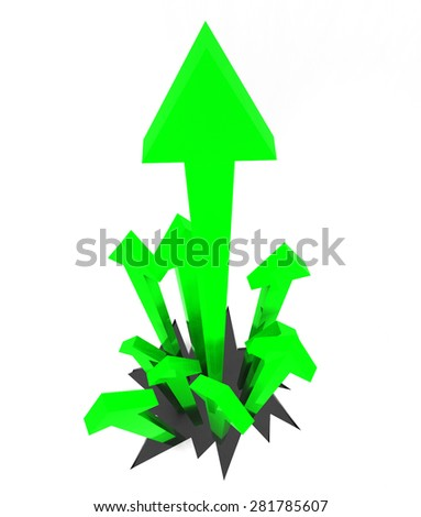 Arrows Up Indicating Upward Pointing And Upwards - stock photo