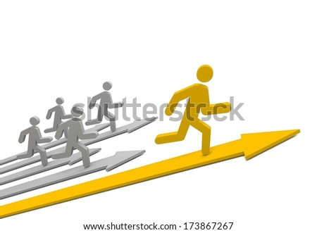 Arrows with leader. Concept. 3d illustration. - stock photo