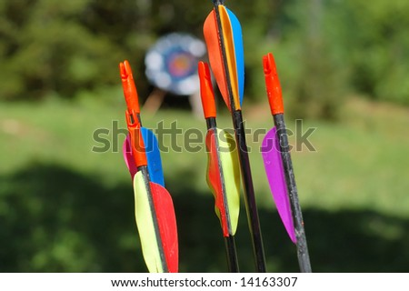 Arrows with target blurred in background - stock photo