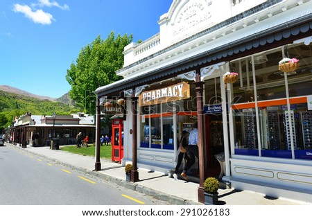 ARROWTOWN, NEW ZEALAND -  Nov 17: The old Pharmacy in Arrowtown on  Nov 17, 2014. Arrowtown is a historic gold mining town near Queenstown in Central Otago, New Zealand. - stock photo