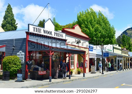 ARROWTOWN,NZ - Nov 17:Arrowtown on Nov 17 2014.It's a popular travel destination with well preserved buildings used by European and Chinese immigrants dating from the gold mining days of the town. - stock photo