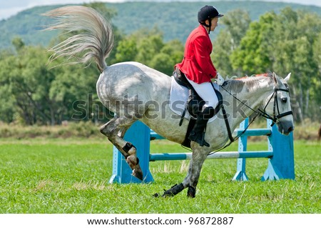 "ARSENEV, RUSSIA - SEPTEMBER 03:  Unidentified rider in action rides horse show jumps at the Riding show ""The Cup of the Governor of the Primorsky Territory, 2011"" on Sept 03, 2011 in Arsenev, Russia - stock photo"