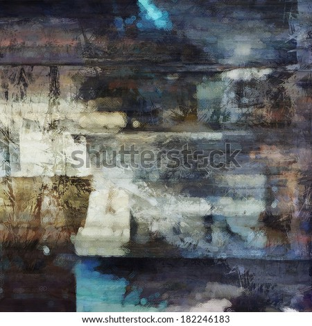 art abstract acrylic and pencil background in blue, white, black and brown colors - stock photo