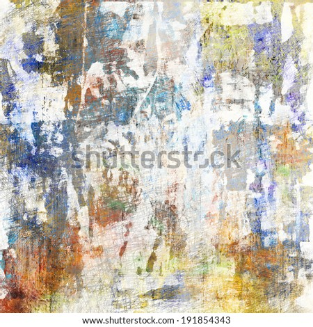 art abstract acrylic and pencil background in white, blue, beige and grey colors - stock photo