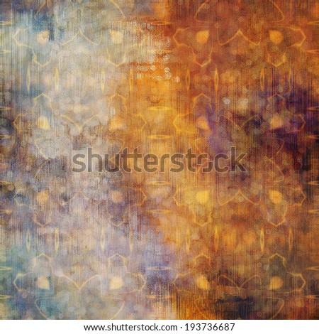 art abstract acrylic and pencil colorful background with damask pattern in beige, gold,, orange, violet and blue colors - stock photo