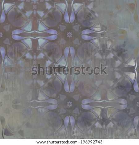 art abstract acrylic and pencil colorful background with damask pattern in blue and grey colors - stock photo