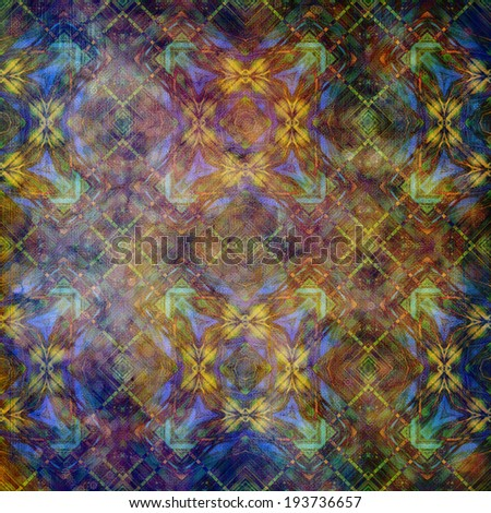 art abstract acrylic and pencil colorful background with damask pattern in blue, gold yellow, green and brown colors - stock photo