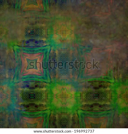 art abstract acrylic and pencil colorful background with damask pattern in green, pink, yellow and blue colors - stock photo