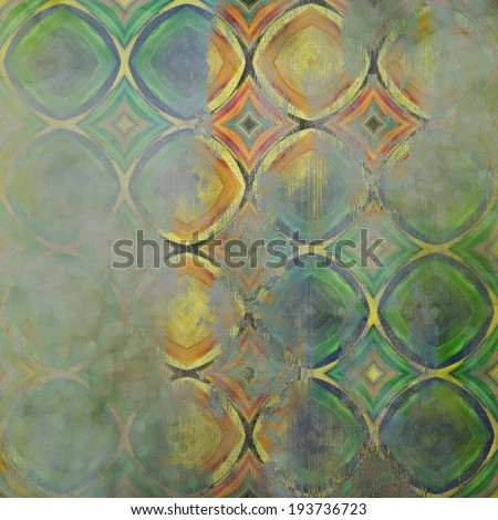art abstract acrylic and pencil colorful background with damask pattern in light green, blue , yellow and brown colors - stock photo