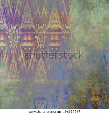 art abstract acrylic and pencil colorful background with damask pattern in lilac, blue and green colors - stock photo