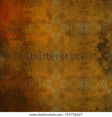 art abstract acrylic and pencil colorful background with damask pattern in orange, beige and brown colors - stock photo