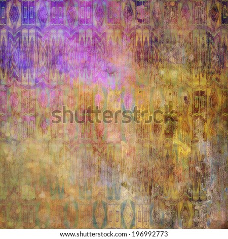 art abstract acrylic and pencil colorful background with damask pattern in yellow, pink, violet and brown colors - stock photo