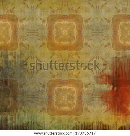 art abstract acrylic and pencil light colorful background with damask pattern in beige, red and brown colors - stock photo