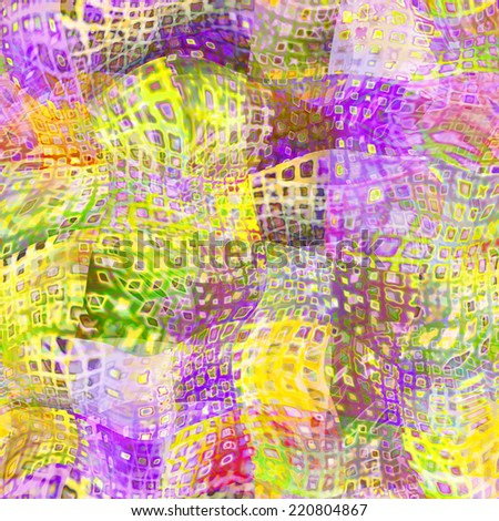 art abstract colorful chaotic waves seamless pattern, background in  green, pink and orange colors - stock photo