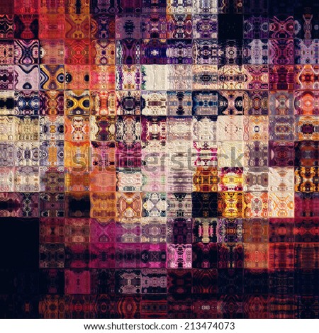 art abstract colorful geometric pattern; paper textured tiled background in purple, viole, fuchsia, red, orange, black and beige white colors - stock photo