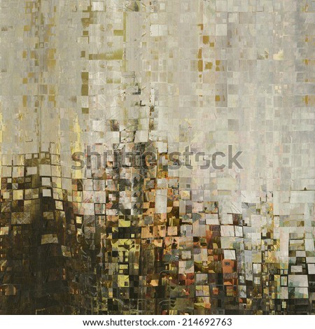 art abstract colorful geometric pattern, tiles background in beige, brown, grey, white, gold, orange and black colors - stock photo