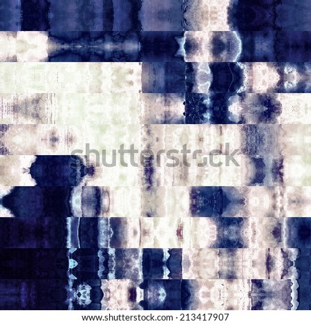 art abstract colorful graphic background; geometric border stylized pattern in blue and white colors - stock photo