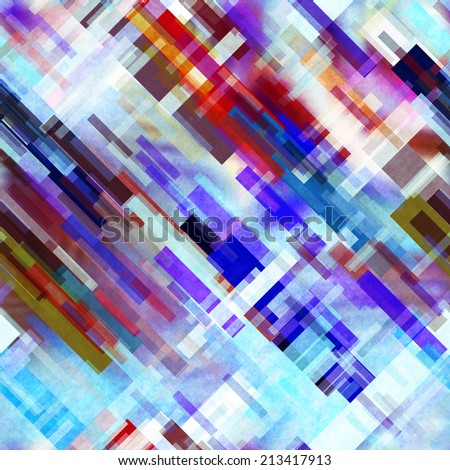 art abstract geometric diagonal seamless pattern; background in blue, white, brown, violet and red colors - stock photo