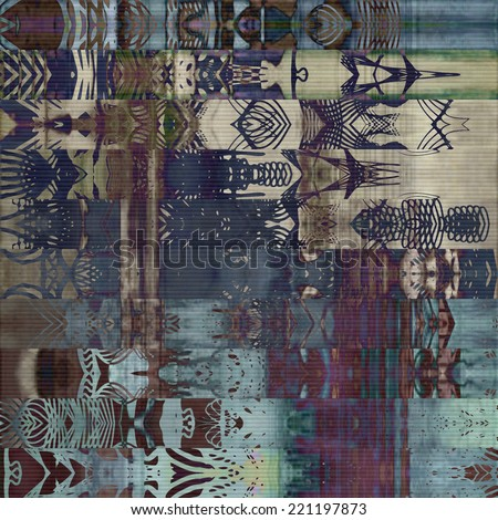 art abstract geometric horizontal stripes pattern, paper textured background in blue, beige, grey, purple and brown colors; vertical seamless ornament - stock photo