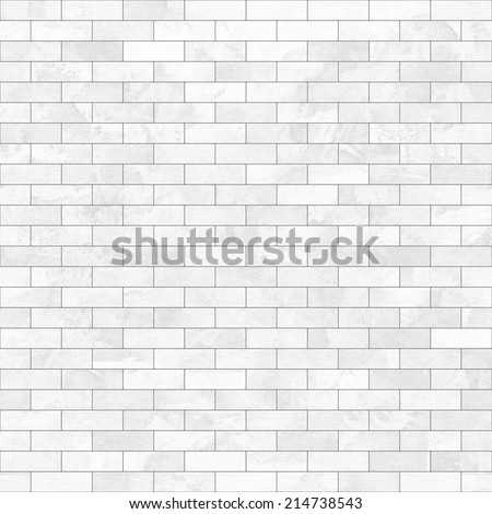 art abstract geometric monochrome background with bricks and tiles in white and light grey colors; seamless pattern - stock photo