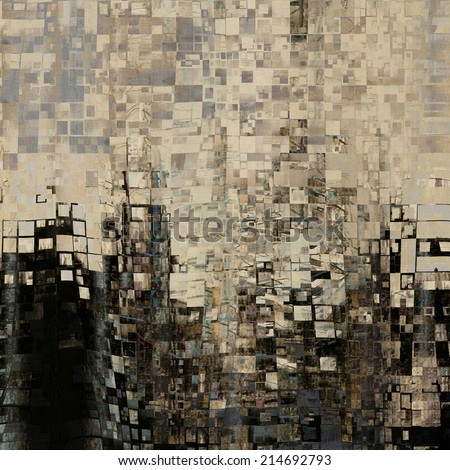 art abstract geometric pattern, monochrome tiled background in grey, beige, brown and black  colors - stock photo