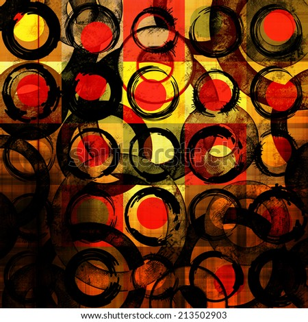 art abstract geometric textured colorful background with circles in gold, orange  and red colors  - stock photo