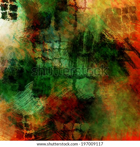 art abstract geometric watercolor background in red, orange, green and yellow colors - stock photo