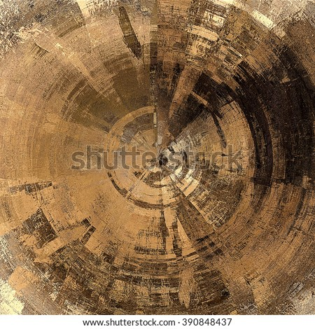 art abstract graphic spherical monochrome grunge background in brown, beige and old gold colors; geometric pattern - stock photo