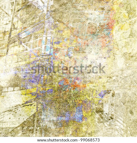 art abstract grunge paper textured light watercolor background in white, beige and old gold colors with graphic and blots - stock photo