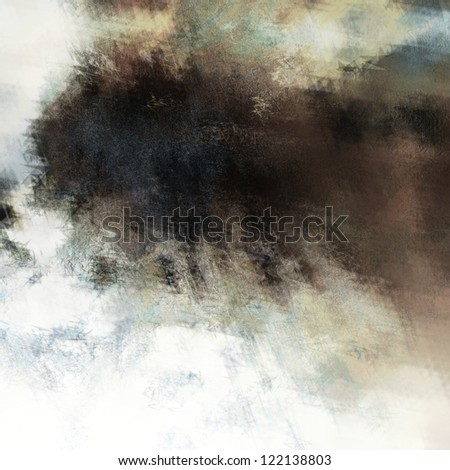 art abstract grunge stained watercolor background with dark brown and black blots on white basis - stock photo