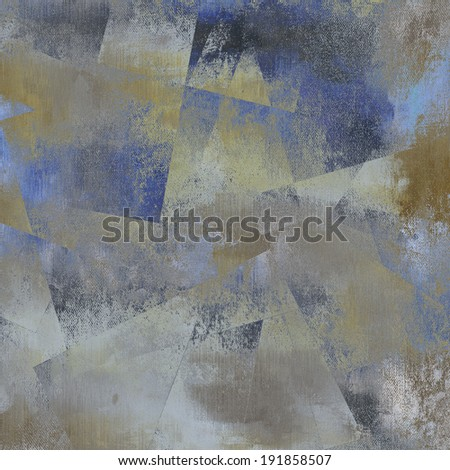 art abstract monochrome acrylic and pencil fabric textured background in blue, grey, beige and black colors, with geometric pattern - stock photo