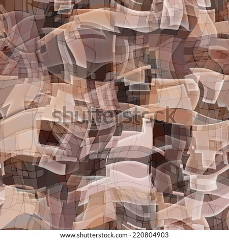art abstract monochrome chaotic waves seamless pattern, background in lilac, brown, grey and beige colors - stock photo