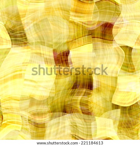 art abstract monochrome chaotic waves seamless pattern, transparency  background in beige, olive, gold, brown and yellow colors - stock photo