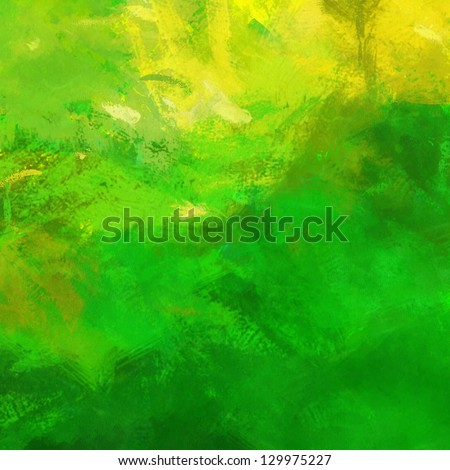 art abstract painted background in bright green and yellow colors - stock photo