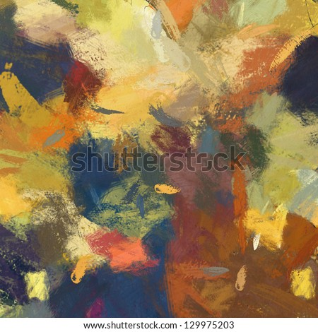 art abstract painted background in ocher-brown colors, with orange, green and blue blots - stock photo