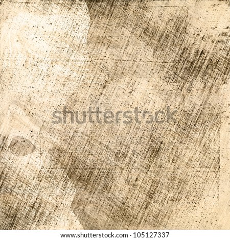 art abstract sketches background in beige color with black and grey blots and pencil stripes  - stock photo