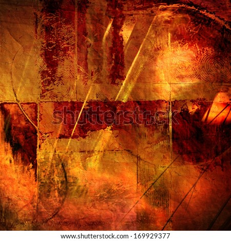 art abstract watercolor and graphic bright orange, gold, red and brown textured background with geometric pattern - stock photo